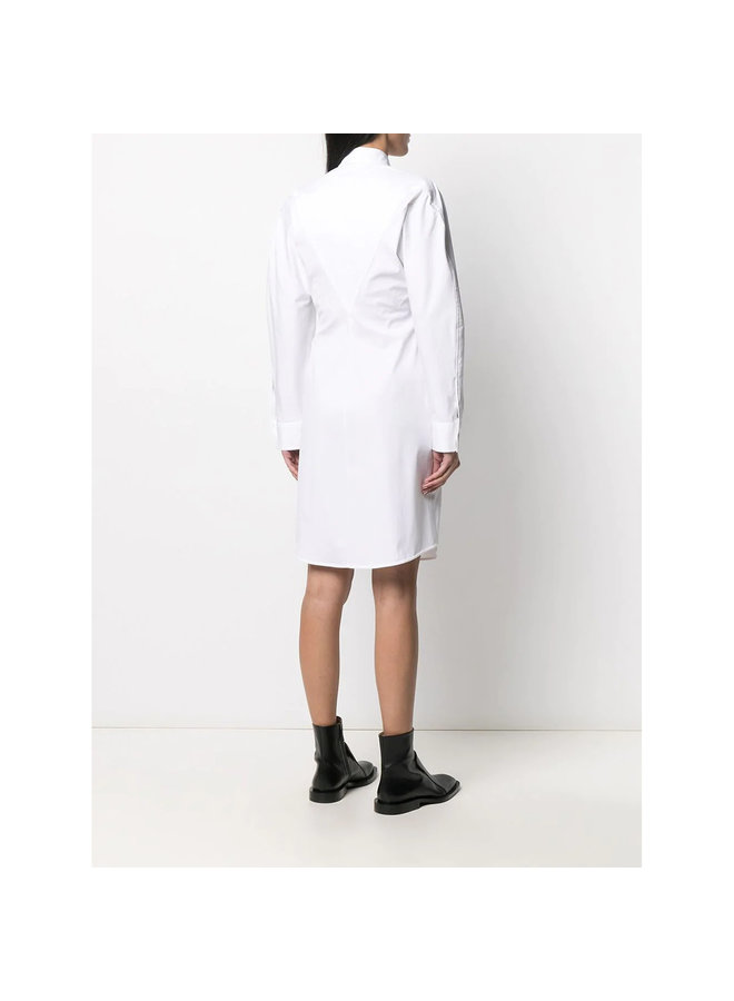 Long Sleeve Shirt Dress in Stretch Cotton in White
