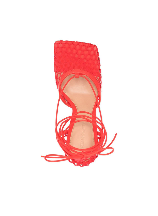 Stretch Mesh High Heel Sandals in Leather in Tomato