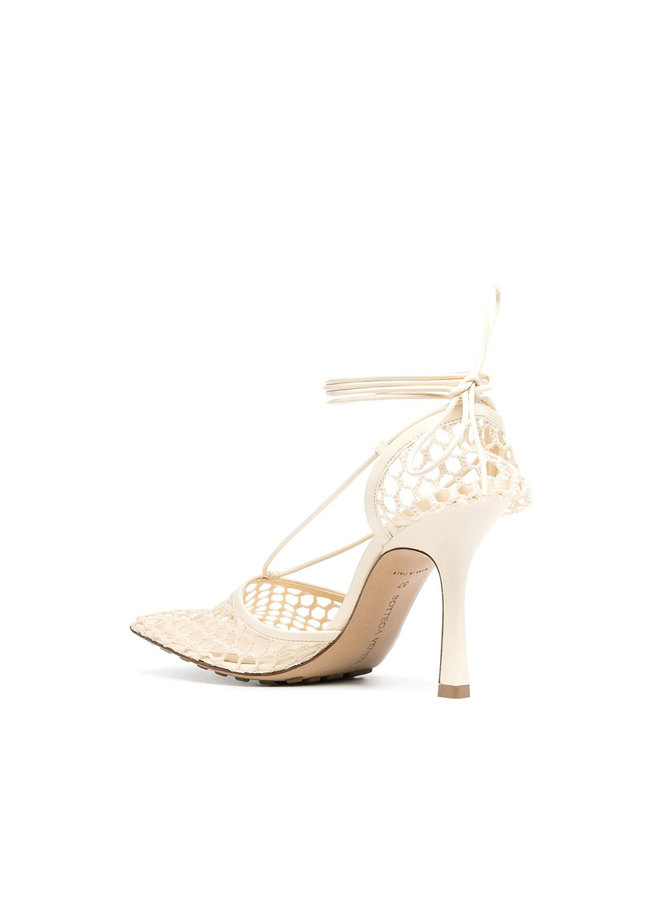 Stretch Mesh High Heel Sandals in Leather in Toile