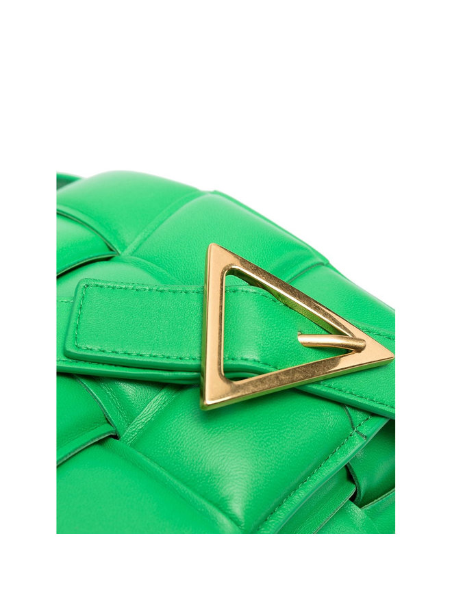 Padded Cassette Shoulder Bag in Leather in Grass