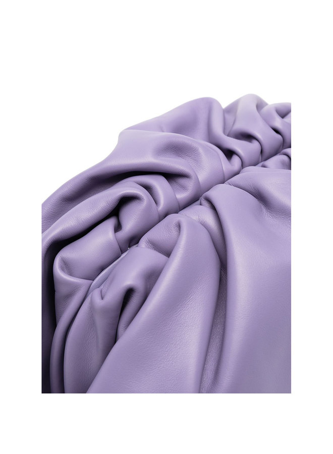 The Pouch Large Clutch Bag in Leather in Lavender
