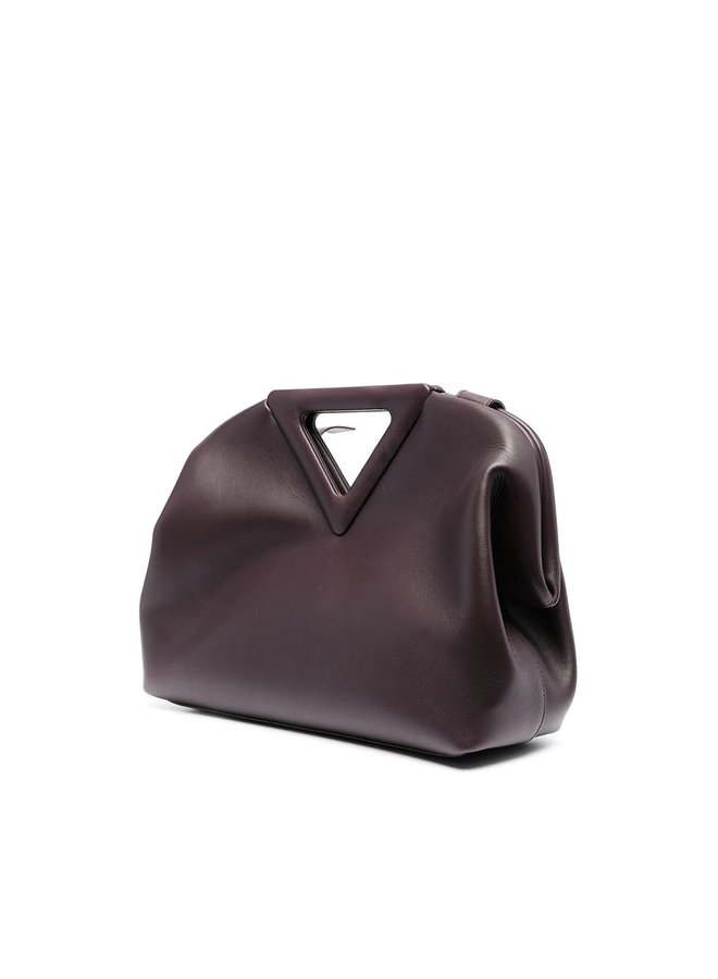Triangle Shoulder Bag in Leather in Grape