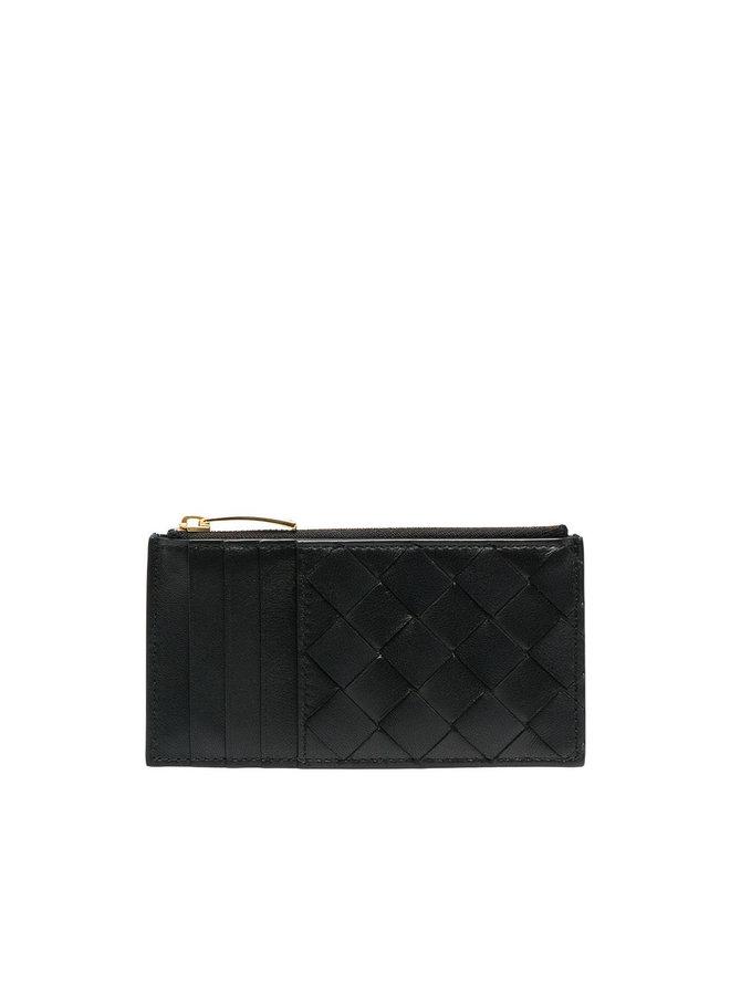 Zip Card Holder in Intrecciato Leather in Black