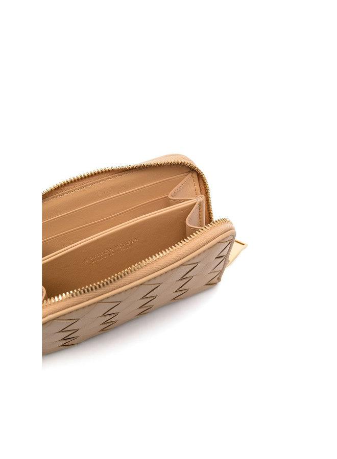 Coin Purse in Intrecciato Leather in Almond