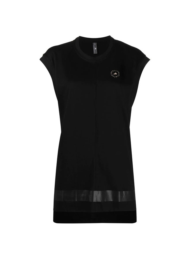Sleeveless Logo Tank Top in Cotton in Black
