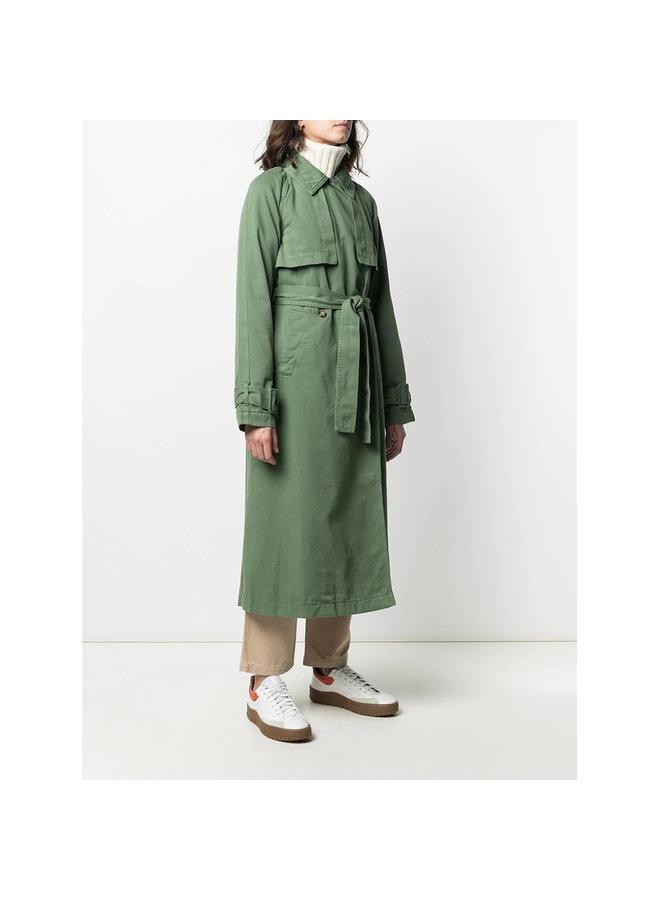 Trench Coat in Organic Cotton in Khaki Green