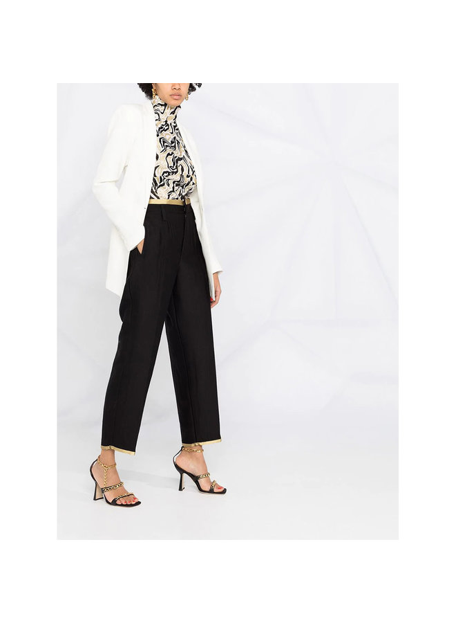 High Waisted Pants with Contrast Trim in Wool in Black