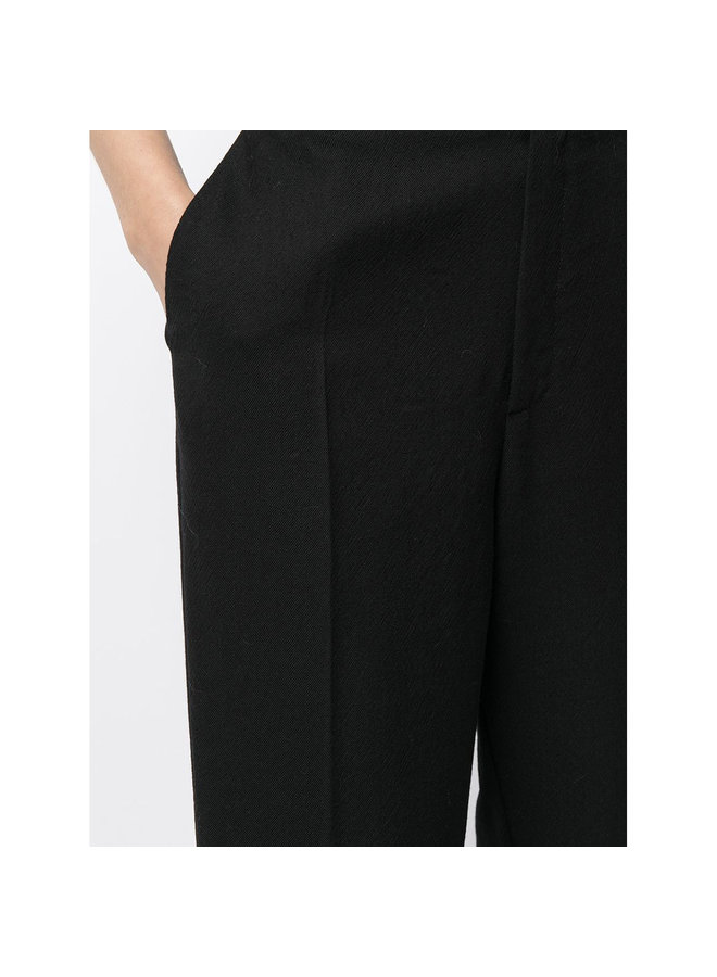 High Waisted Pants in Wool in Black