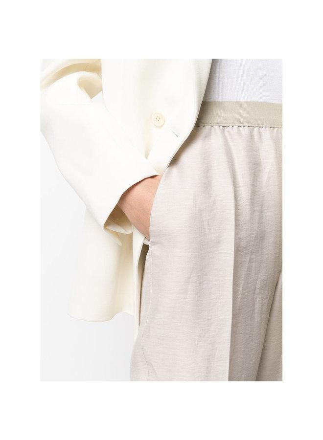 Casual Elasticated Pants in Linen in Beige
