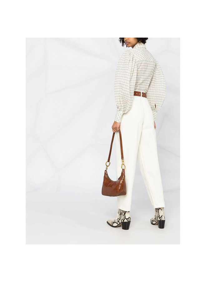 Long Sleeve Checked Shirt in Cotton Silk in Ecru