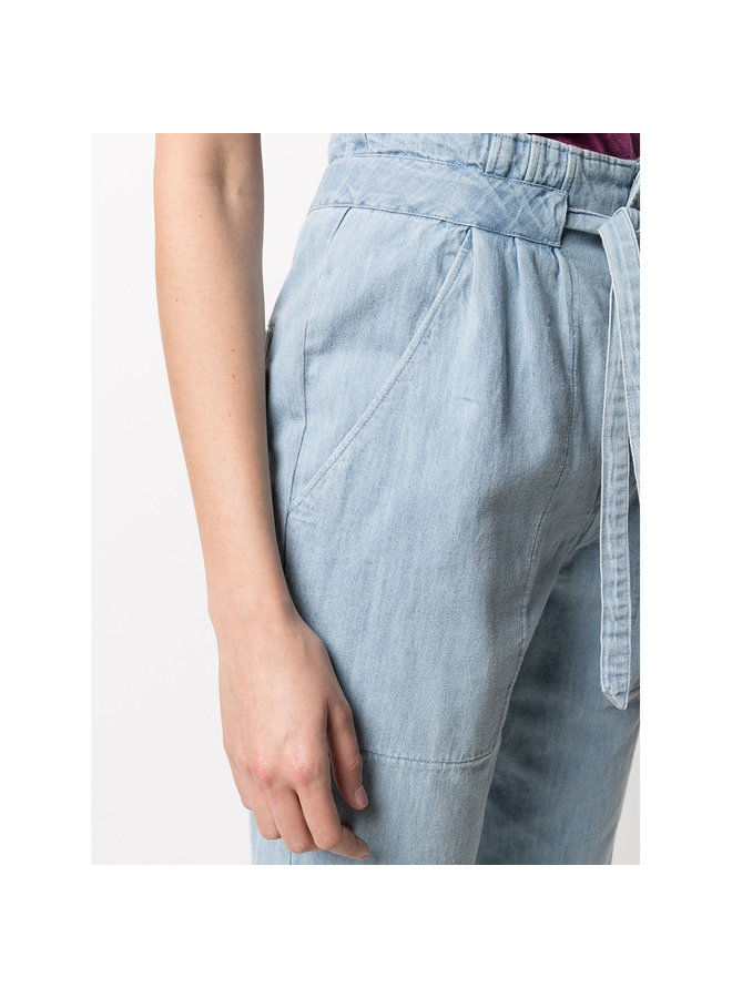 High Waisted Casual Pants in Cotton in Light Blue