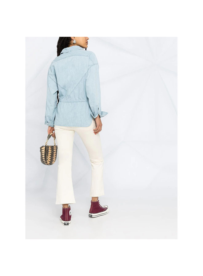 Long Sleeve Shirt with Drawstring in Light Blue