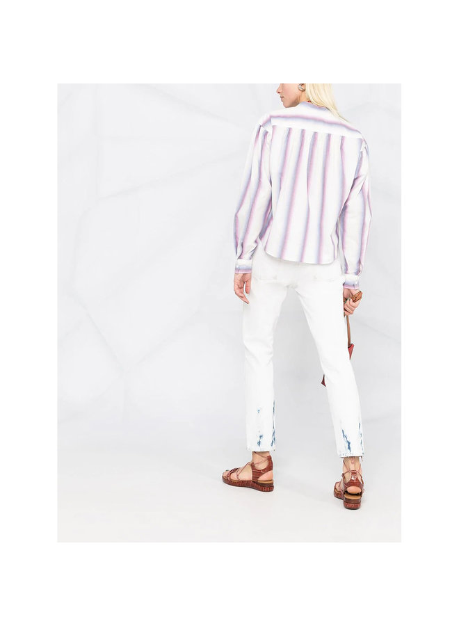 Long Sleeve Striped Shirt in Cotton in Pink