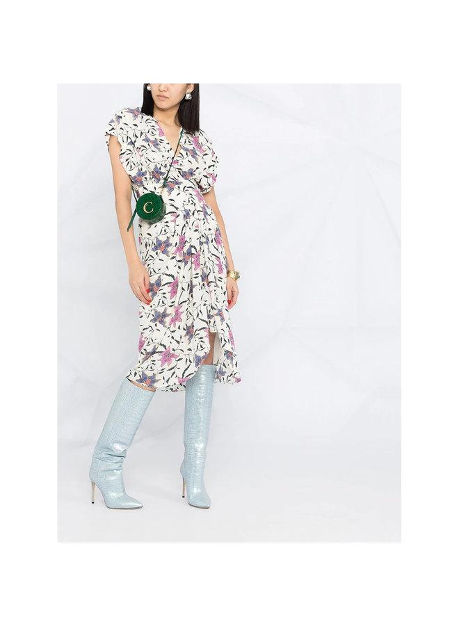 Midi Dress in Floral Print in Ecru