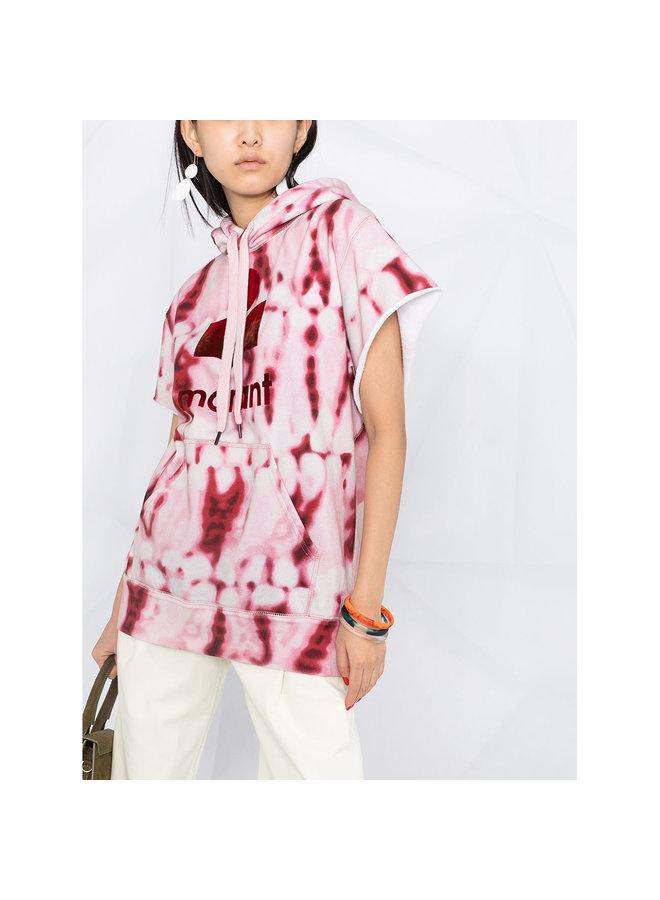Logo Tie Dye Printed Hoodie in Cotton in Red