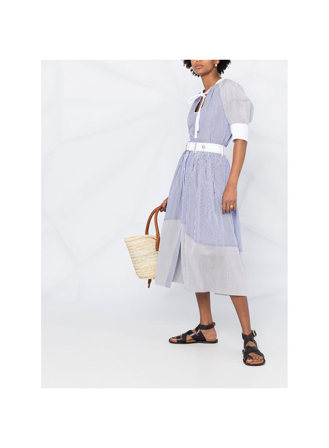 Midi Stripped Skirt in Cotton in Blue/White