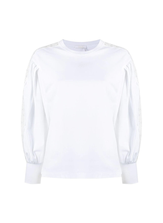 Long Sleeve Top with Lace Trims