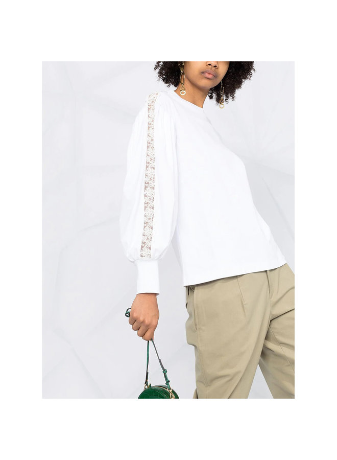 Long Sleeve Top with Lace Trims in Cotton in White