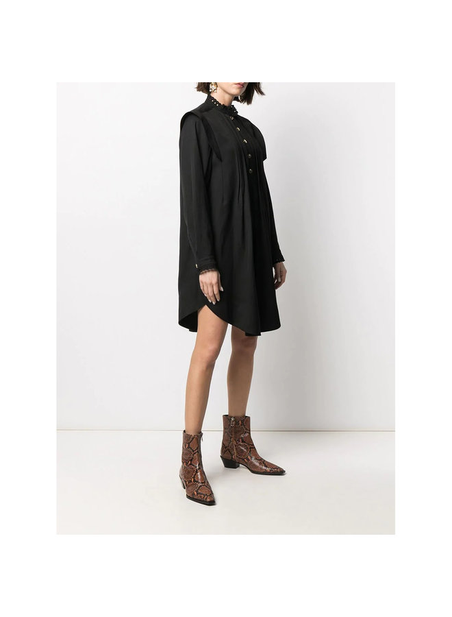 Mini Shirt Dress with Ruffles in Cotton in Black