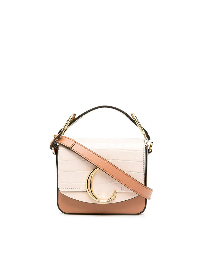 Mini C Crossbody Bag in Croco Effect Leather in Cement Pink
