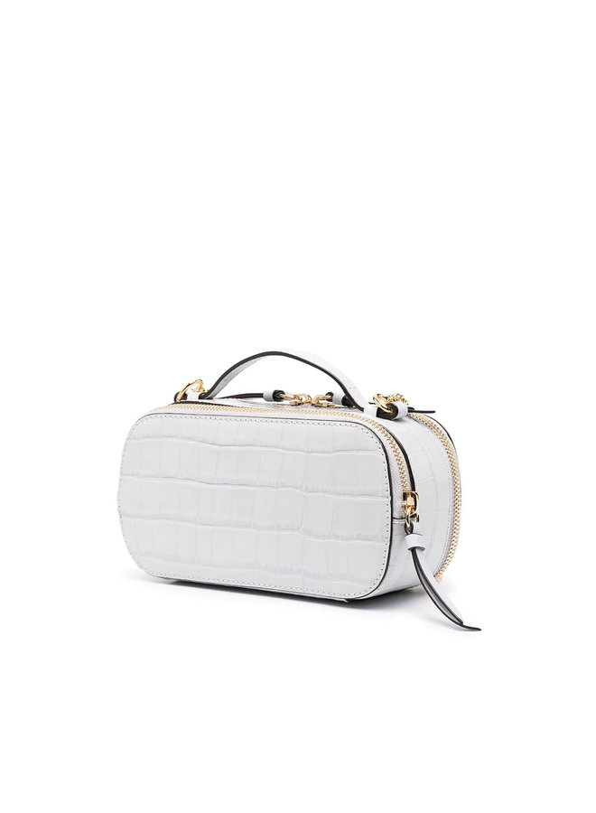 Mini C Vanity Bag in Croco Effect Leather in Light Cloud