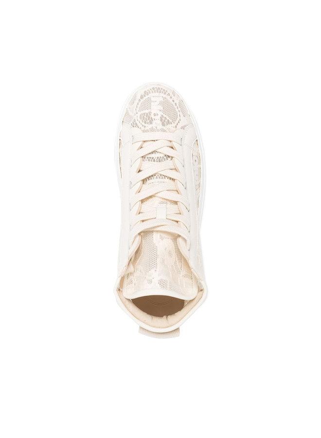 Lauren High Top Sneakers in Lace Logo in Mild Beige