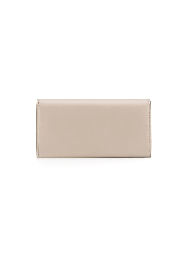 C Large Flap Wallet in Leather in Motty Grey