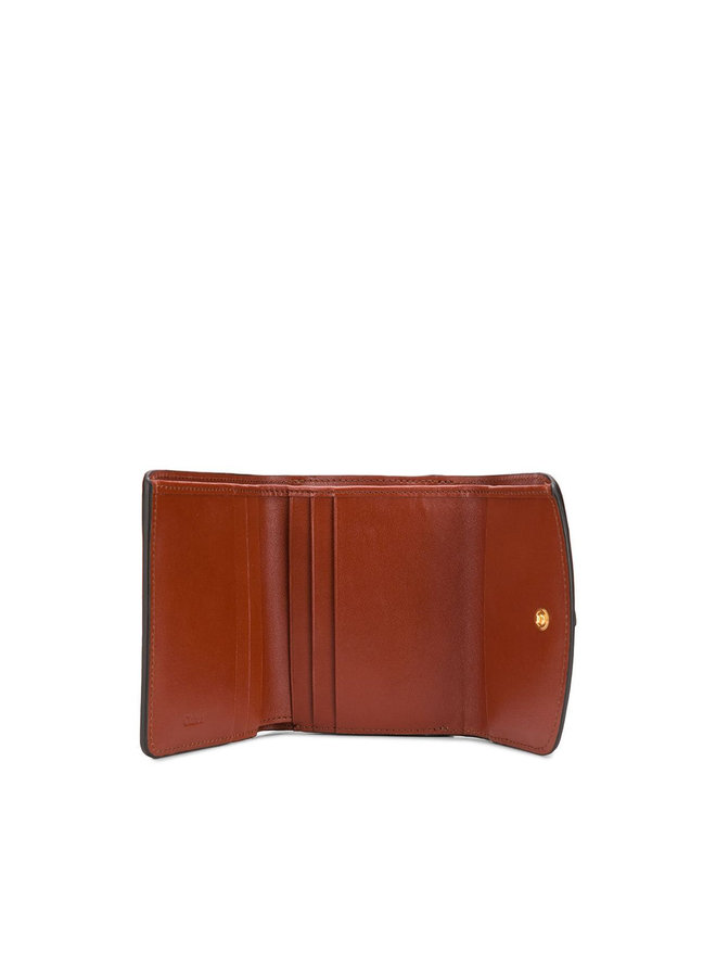 C Mini Trifold Wallet in Leather in Sepia Brown