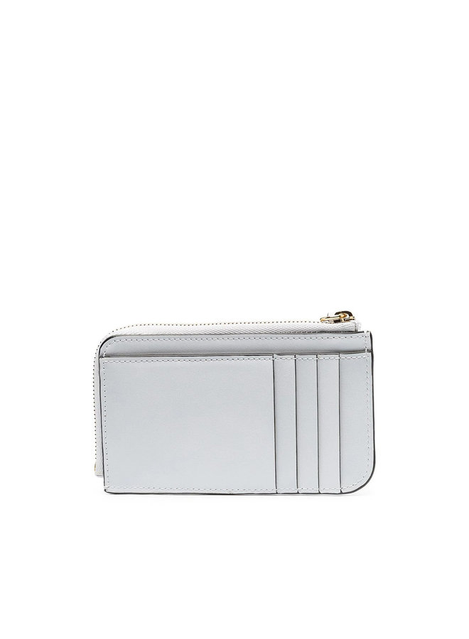 C Zipped Coin Purse in  Croco Effect Leather  in Light Cloud