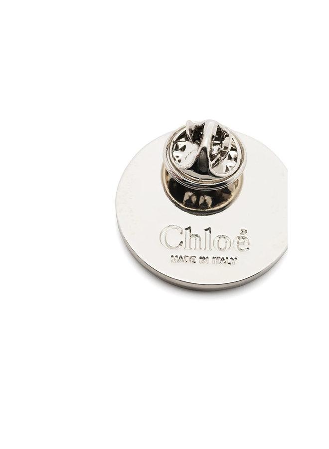 Round Pin in Brass in White/Blue
