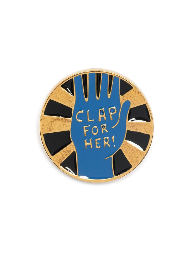 Round Pin in Brass in Imperial Blue