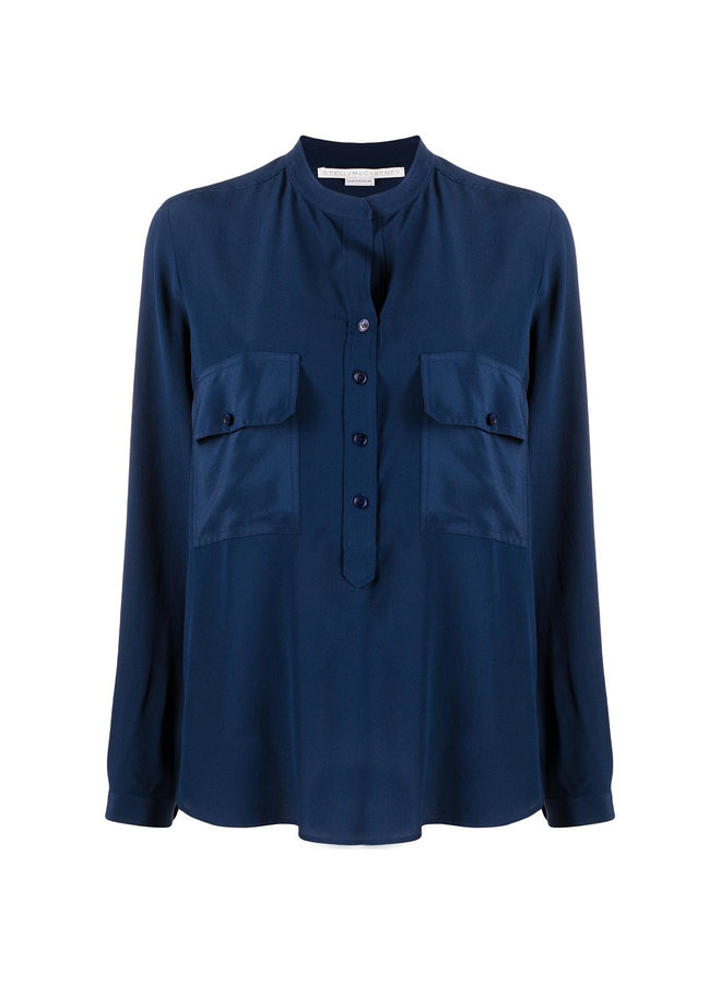 Estelle Long Sleeve Shirt in Silk in Deep Blue