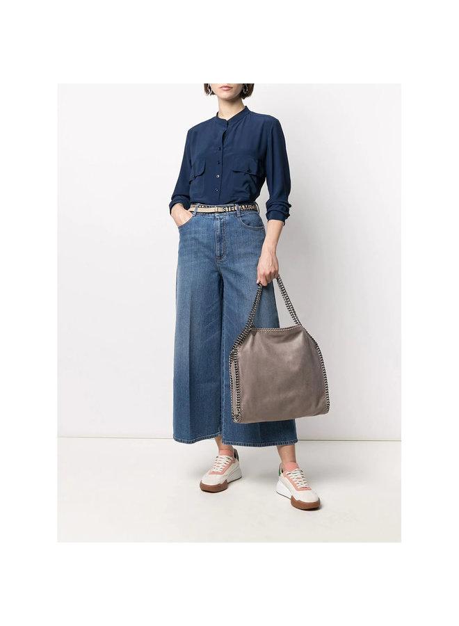 Estelle Long Sleeve Shirt in Silk in Deep Blue