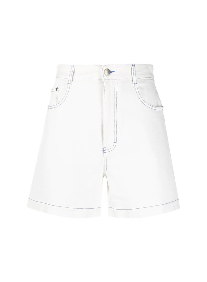 Denim Shorts with Contrast Trim in Cotton in White Wash