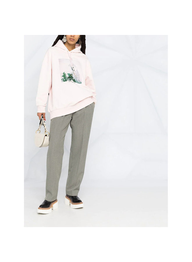Bunny Print Hoodie in Cotton in Pink