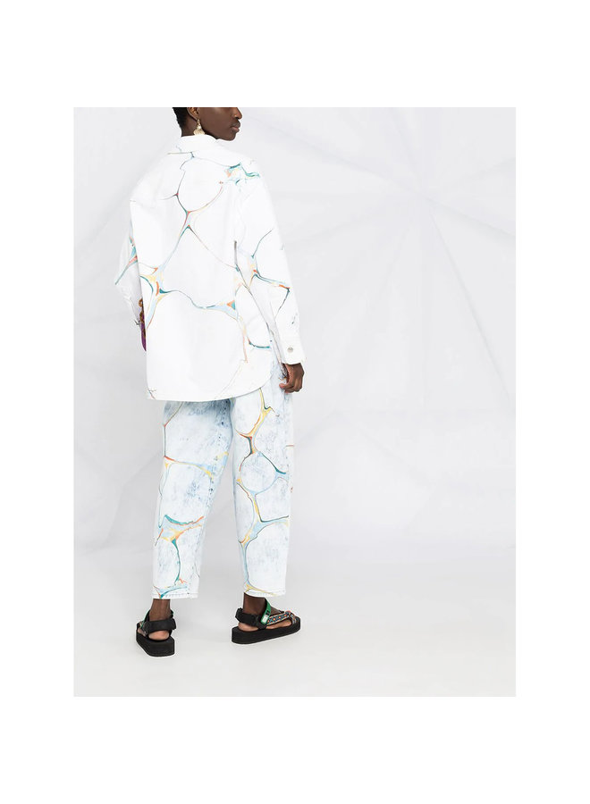 Printed Denim Jacket in Cotton in White Marble