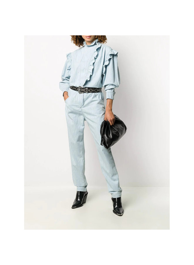 Full Length Ruffle Jumpsuit in Cotton in Light Blue