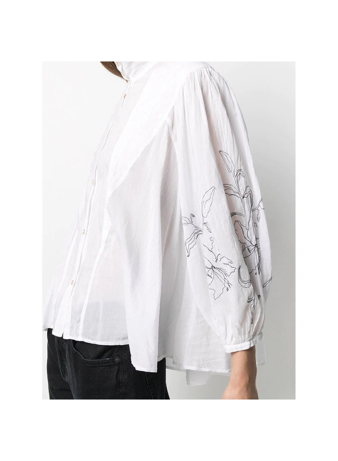 Long Sleeve Shirt with Embroidery in White