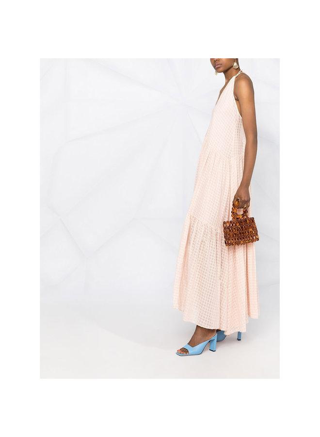 V-Neck Maxi Dress in Cotton in Blush