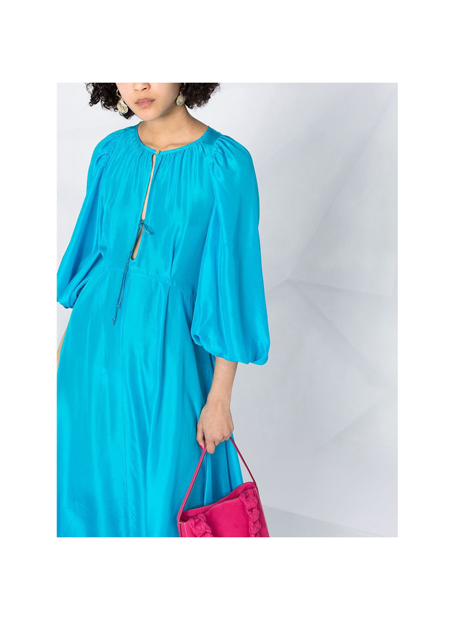 Long Dress with Puff Sleeve in Silk in Blue Mare