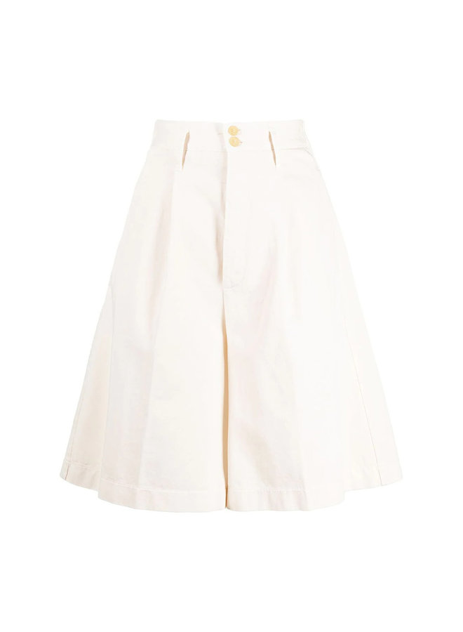 Wide Leg Shorts in Cotton in Ivory