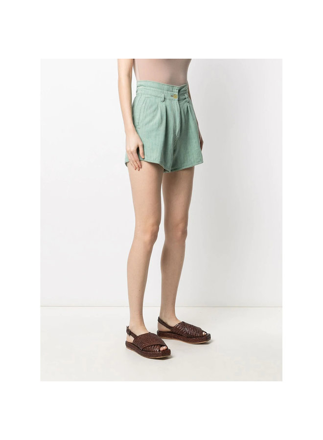 High Rise Shorts in Cotton in Mint