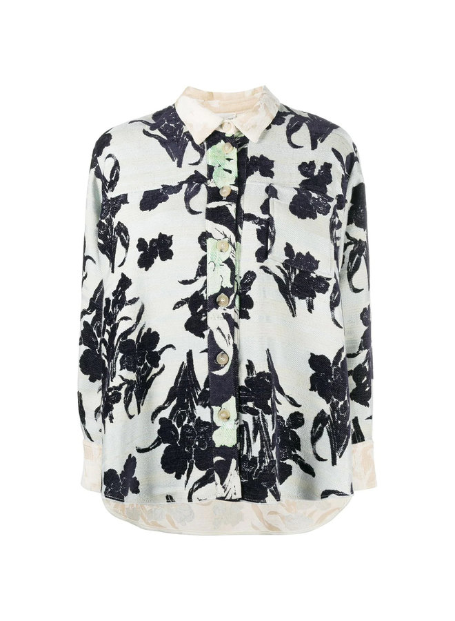 Long Sleeve Oversized Shirt in Floral Print in Mint