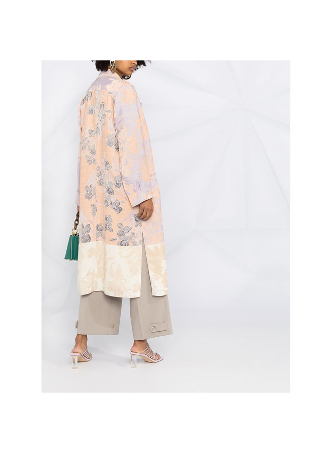 Long Oversized Coat in Floral Print in Lavender