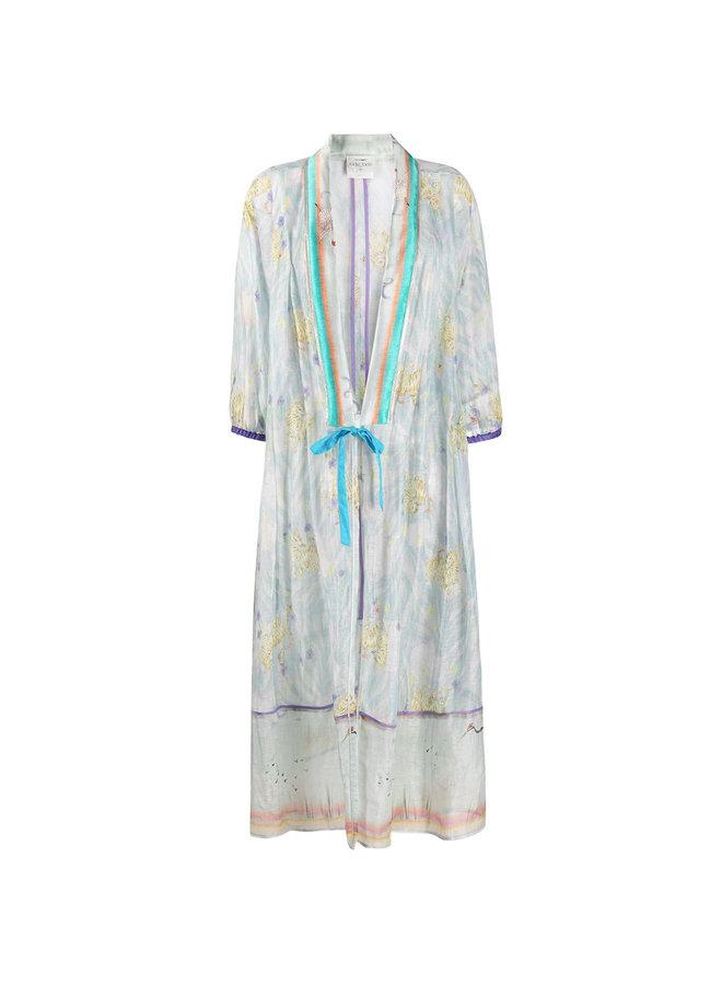 Long Kimono in Floral Print in Cristallo Blue