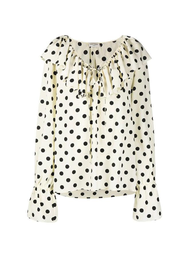 Long Sleeve Polka Dot Print Blouse