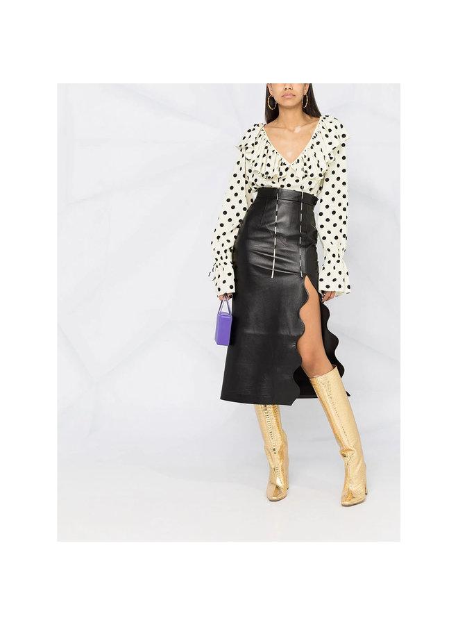 Long Sleeve Polka Dot Print Blouse in Silk in Black/White