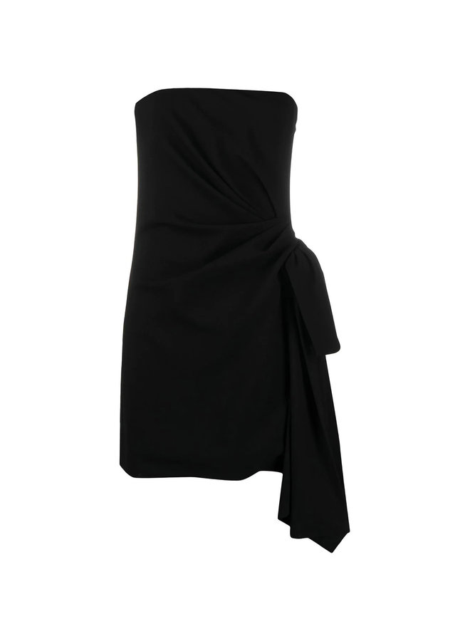 Strapless Mini Dress with Side Tie in Black