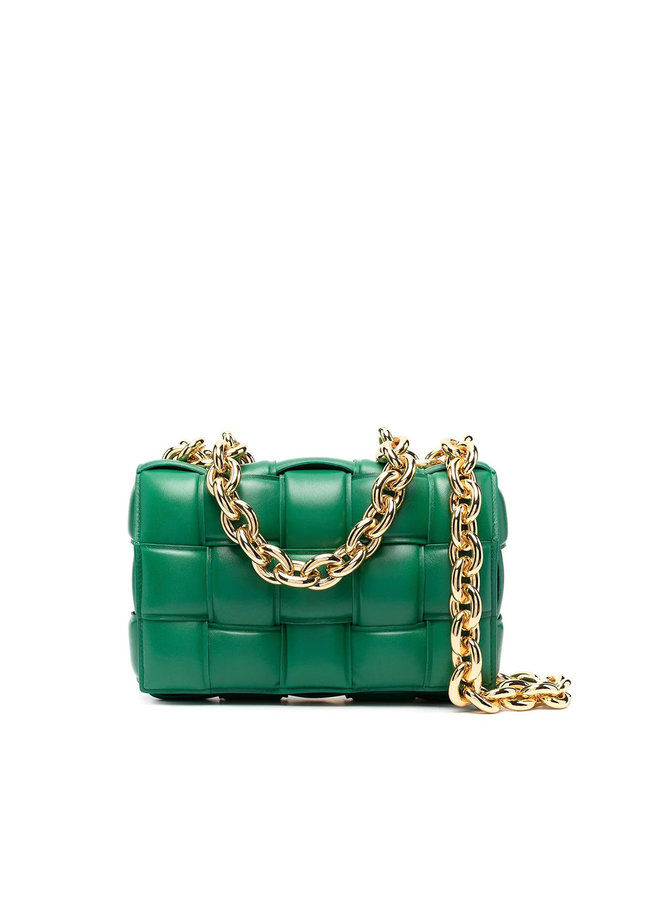 Cassette Chain Padded Shoulder Bag in Leather in Green