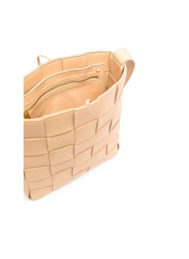 Messenger Crossbody Bag in Intrecciato Leather in Almond